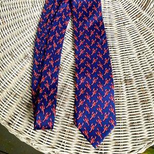 J Crew navy blue silk lobster tie
